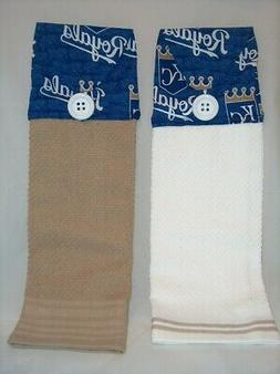 SET of 2 ~ HANGING KITCHEN TOWELS ~ FABRIC TOPPER ~ MLB KANS
