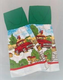 SET of 2 ~ HANGING KITCHEN TOWELS ~ FABRIC TOP ~ RED VINTAGE