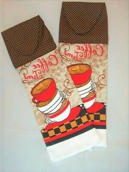 SET of 2 ~ HANGING KITCHEN TOWELS ~ FABRIC TOP ~ COFFEE TIME