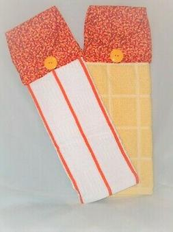 SET of 2 ~ HANGING KITCHEN TOWELS ~ FABRIC TOPPER ~ CALICO F