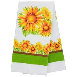 Set of 2 Home Collection Sunflower Printed Kitchen Towels w