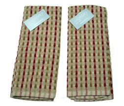 Set of 2 Croscill Home Kitchen Towels with Tan,Brown and Red