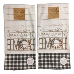 Set of 2 HOME SWEET HOME Farmhouse Terry Kitchen Towels by K