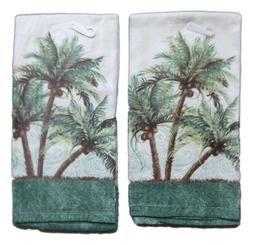 Set of 2 Key West PALM TREES Terry Cloth Kitchen Towels, by