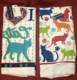 Set Of 2 Kitchen Dish Towels - Home Decor - Cats Kittens Pet