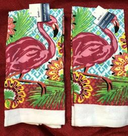 Set Of 2 Kitchen Dish Towels Home Cooking Decor - PINK FLAMI
