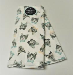 Cynthia Rowley Set of 2 Kitchen Tea Dish Towels Cat Faces