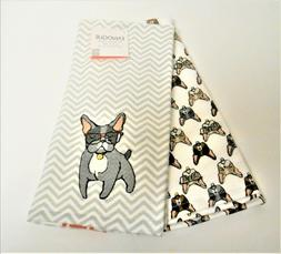 Envogue Set of 2 Kitchen Tea Dish Towels Frenchie With Glass