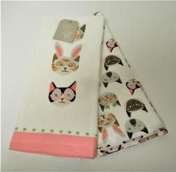 Snuggle Bunny Set of 2 Kitchen Tea Dish Towels Cats & Easter