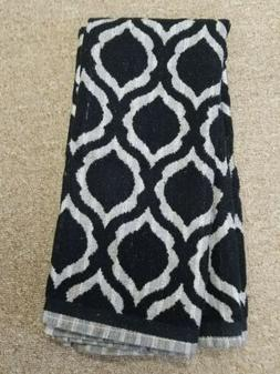 set of 2 kitchen towels black and grey high low terry cotton