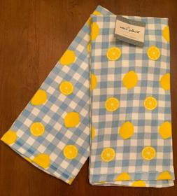 Truly Lou Set Of 2 Kitchen Towels  Blue White Check Yellow