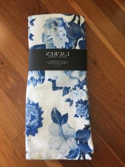 Set of 2 RALPH LAUREN Kitchen Towels Blue & White 100% Cotto