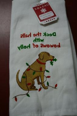 CASABA SET OF 2 KITCHEN TOWELS DOG CHRISTMAS DESIGN NWT DISH