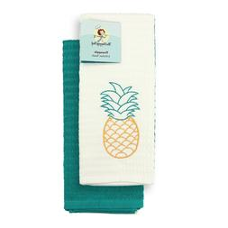 set of 2 kitchen towels embroidered pineapple