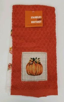 Set of 2 Kitchen Towels Fall Autumn Pumpkin Patch Orange Sea