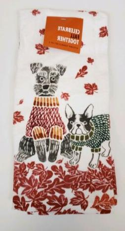Set of 2 Kitchen Towels Fall Autumn Dogs Leaves Seasonal Koh