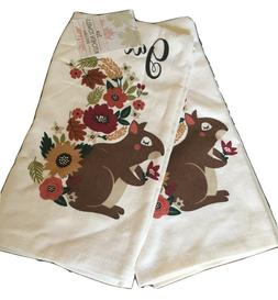 Ritz Set of 2 Kitchen Towels Gather Squirrel Fall Flowers