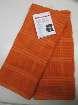 KitchenAid set of 2 kitchen towels in pumpkin orange burnt o