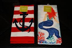 SET OF 2 KITCHEN TOWELS, MERMAID & ANCHOR. 100% COTTON