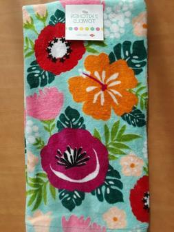 Ritz Set Of 2 Kitchen Towels Spring Floral Orange Red Pink G
