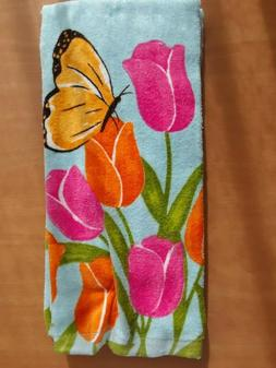 Ritz Set Of 2 Kitchen Towels Tulips Butterfly Spring Floral