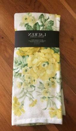 Set of 2 RALPH LAUREN Kitchen Towels Yellow Floral 100% Cott