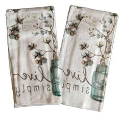 Set of 2 LIVE SIMPLY Cotton Bolls Terry Kitchen Towels by Ka