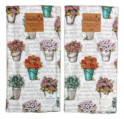 Set of 2 LIVE SIMPLY FLORAL Terry Kitchen Towels by Kay Dee