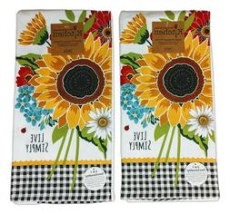 Set of 2 LIVE SIMPLY Sunflower Charm Terry Kitchen Towels by