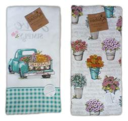 Set of 2 LIVE SIMPLY Truck & Floral Terry Kitchen Towels by