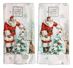 Set of 2 MAGICAL HOLIDAYS Santa & Fox Terry Kitchen Towels b