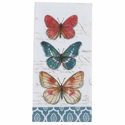 Set of 2 MY GARDEN JOURNAL BUTTERFLY Terry Kitchen Towels by