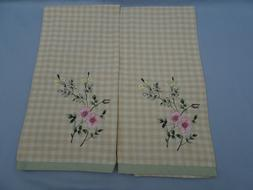 Set of 2 New LAURA ASHLEY LIFESTYLES KITCHEN TOWELS EMBROIDE