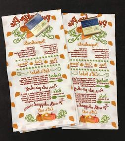 Set Of 2~NEW  PUMPKIN PIE Flour Sack Towels FALL, HARVEST, T