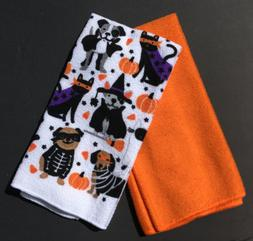 Set of 2 New Kitchen Towels Halloween Cats & Dogs In Costume