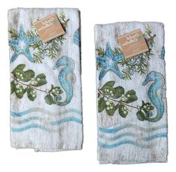 Set of 2 OCEAN TIDE Coastal Collection Terry Kitchen Towels