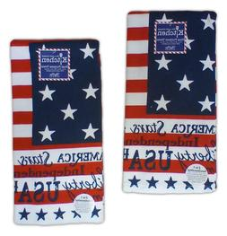 Set of 2 PATRIOTIC AMERICAN FLAG Terry Kitchen Towels by Kay
