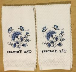 Set Of 2 Personalized Name Embroidered Blue Flowers Kitchen