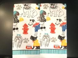 Set Of 2 Puppy Dog Poodle Bulldog Pets Home Kitchen Bathroom