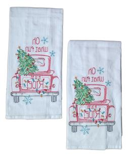 Set of 2 RED CHRISTMAS TRUCK Embroidered Flour Sack Kitchen