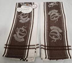 Set of 2 Same Kitchen Jacquard Towels  100% Cotton, COFFEE O