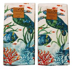 Set of 2 SEA SPLASH Sea Turtle Terry Kitchen Towels by Kay D
