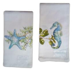 Set of 2 SEAHORSE & STARFISH Flour Sack Kitchen Towels by Ka