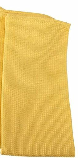 Set of 2 SNAPDRAGON YELLOW Waffle Weave 100% Cotton Kitchen