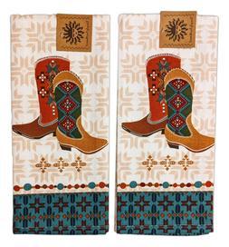 Set of 2 SOUTHWEST AT HEART Cowboy Boots Kitchen Tea Towels