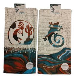 Set of 2 SOUTHWEST VISTAS Gecko & Kokopelli Kitchen Towels b