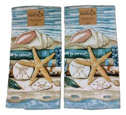 Set of 2 STORIES OF THE SEA Coastal Terry Kitchen Towels by