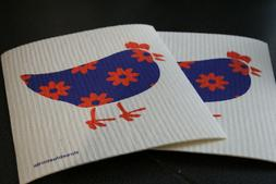 Set of 2-Swedish Dishcloth-Chicken-Roosters-Kitchen Linens-C
