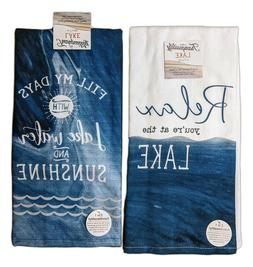 Set of 2 TRANQUILITY LAKE Terry Kitchen Towels by Kay Dee De