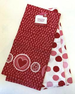 Set of 2 Valentine's Day dish towels Heart polkadots pink re